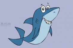 可爱的卡通鲨鱼怎么画 卡通鲨鱼画法步骤图解
