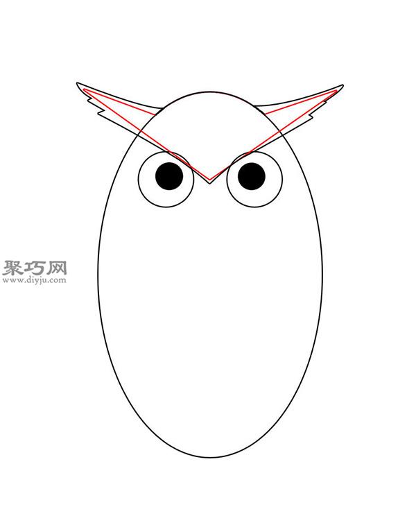 卡通瘦版猫头鹰的画法步骤 4