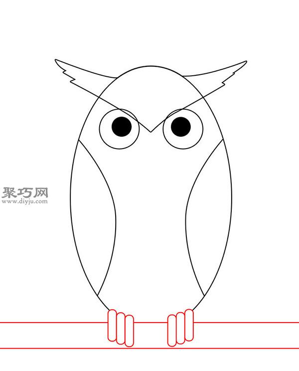卡通瘦版猫头鹰的画法步骤 6