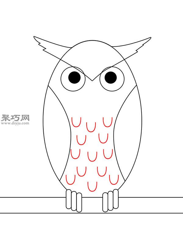 卡通瘦版猫头鹰的画法步骤 7
