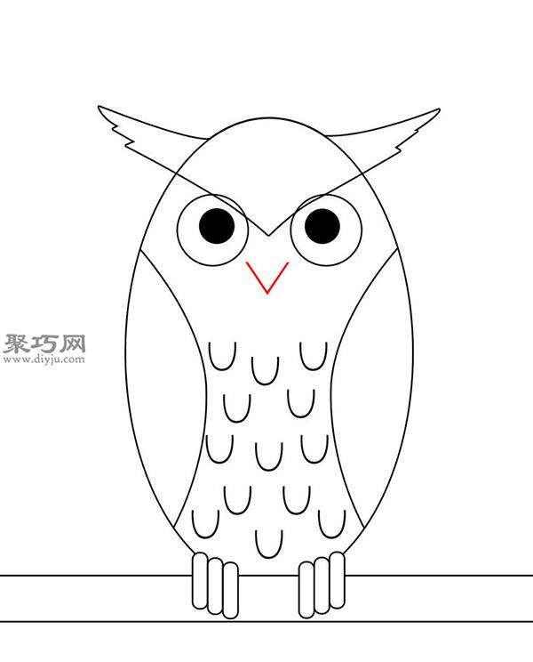 卡通瘦版猫头鹰的画法步骤 8