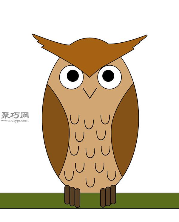 卡通瘦版猫头鹰的画法步骤 9