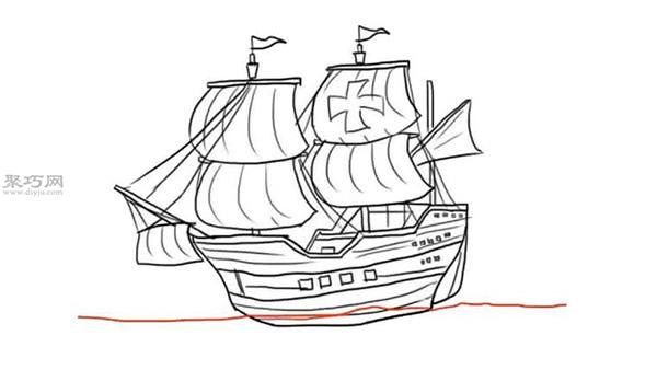 简笔画帆船的画法步骤图解