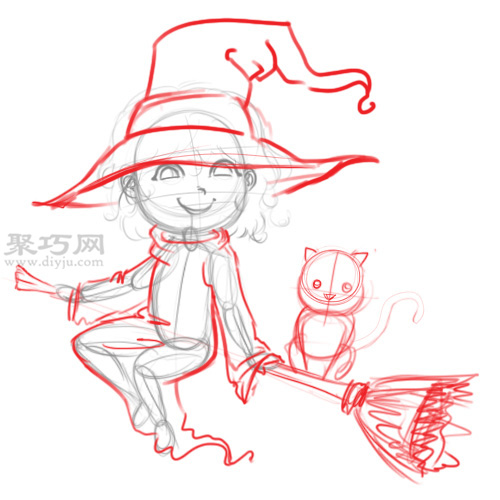 漫画卡通小魔女的画法 教你如何画小女巫 5 12