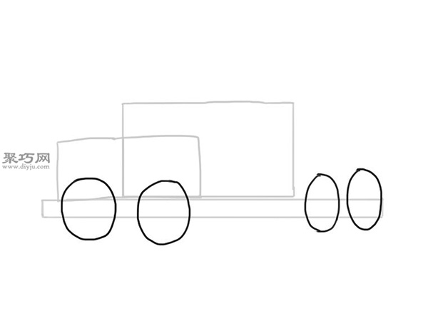 简笔画麦克货车的画法步骤 4