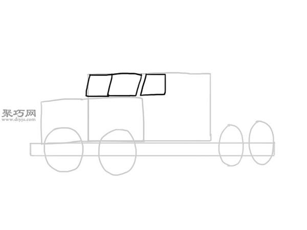 简笔画麦克货车的画法步骤 5