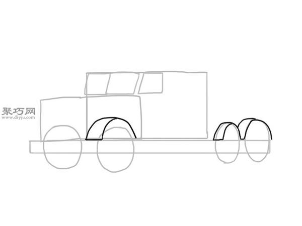 简笔画麦克货车的画法步骤 6