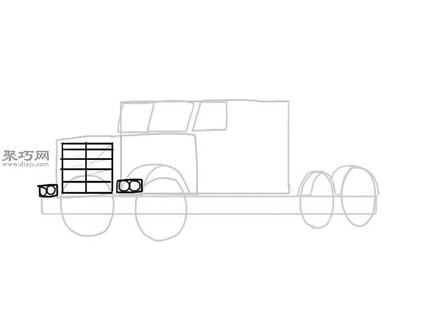 简笔画麦克货车的画法步骤 7