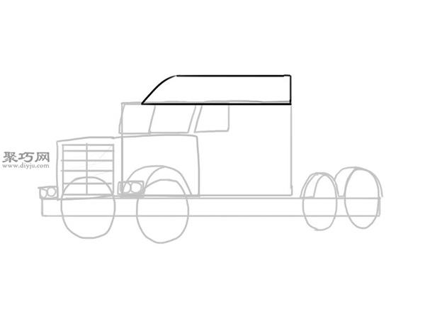 简笔画麦克货车的画法步骤 8
