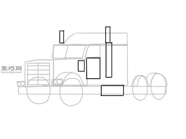 简笔画麦克货车的画法步骤 9