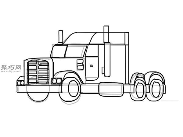 简笔画麦克货车的画法步骤 10