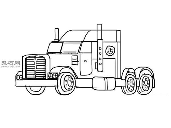 简笔画麦克货车的画法步骤 12