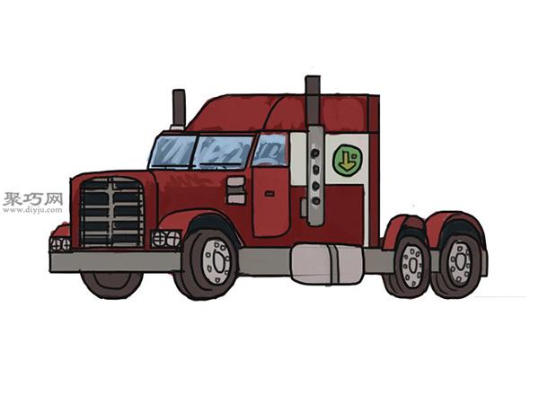 简笔画麦克货车的画法步骤 13
