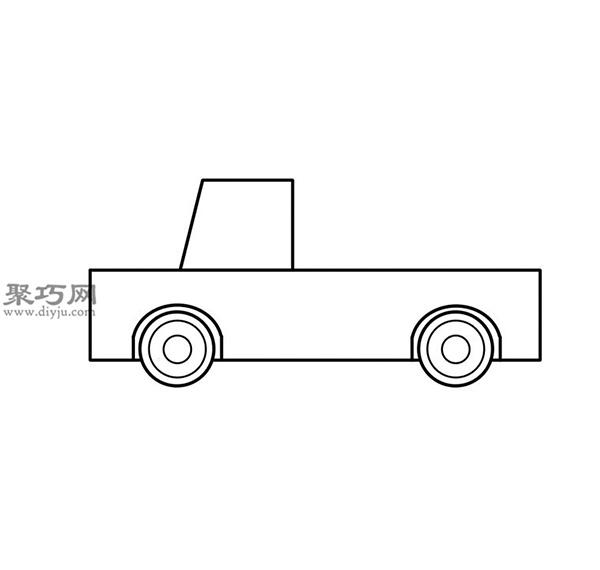 簡筆畫輕型卡車的畫法步驟 04