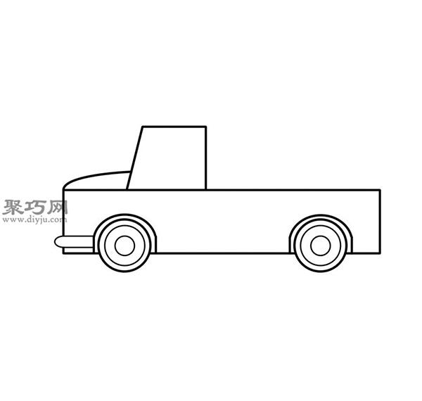 簡筆畫輕型卡車的畫法步驟 06