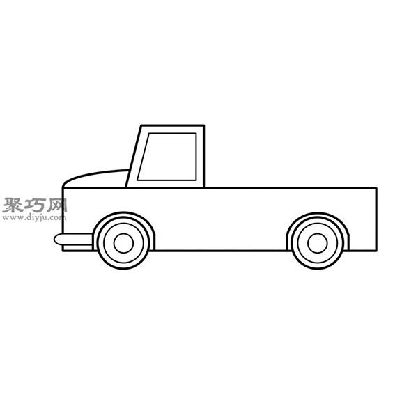 簡筆畫輕型卡車的畫法步驟 07
