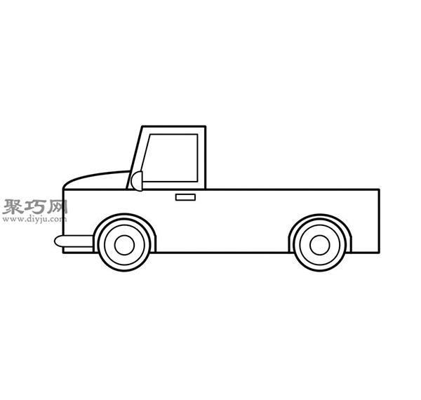 簡筆畫輕型卡車的畫法步驟 09