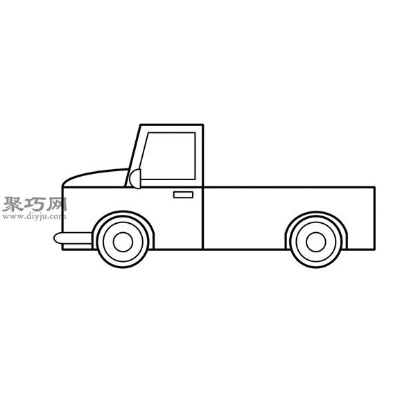 簡筆畫輕型卡車的畫法步驟 10