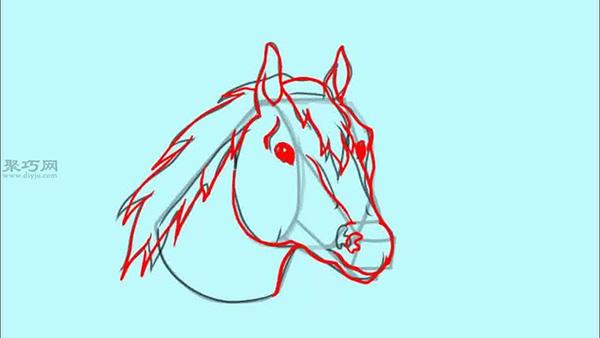 画马头步骤图解 教你怎么画简单又真实的马头图片