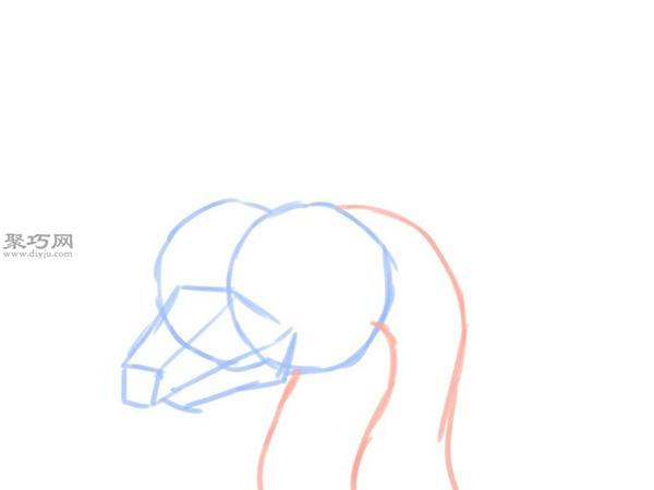 简笔画龙头像的画法 3