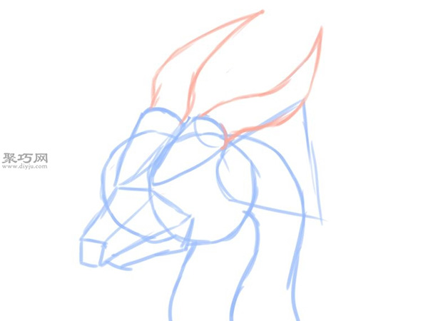 简笔画龙头像的画法 教你如何画龙的头部