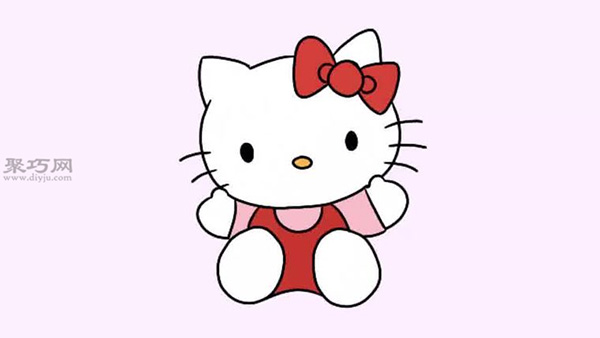 卡通凯蒂猫的画法步骤教程 教你坐着的hello kitty的画法