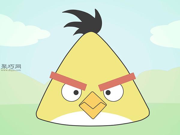 黄色的愤怒的小鸟怎么画 飞镖黄简笔画步骤
