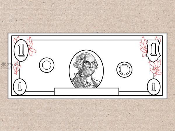 美元钞票怎么画 画一美元钞票详细步骤 5