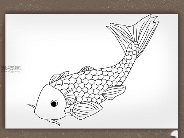錦鯉簡筆畫怎么畫 如何畫一條逼真的錦鯉 6