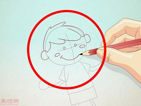 卡通小男孩的画法步骤 3