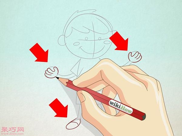 卡通小男孩的画法步骤 4