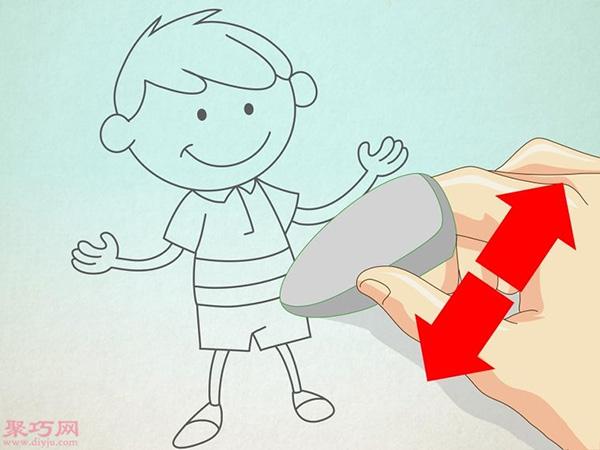 卡通小男孩的画法步骤 6