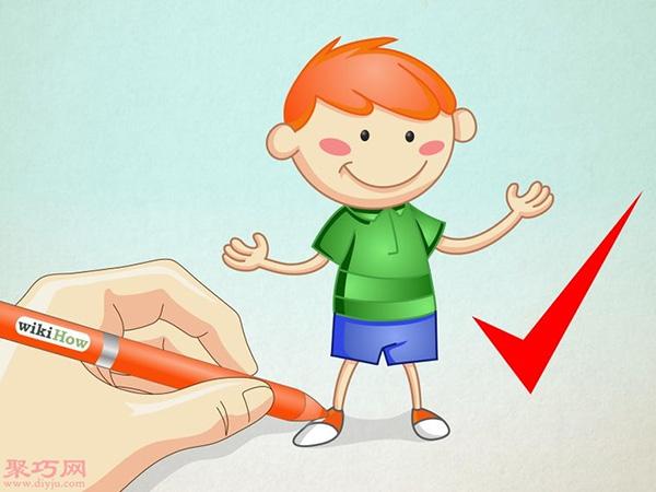 卡通小男孩的画法步骤 7