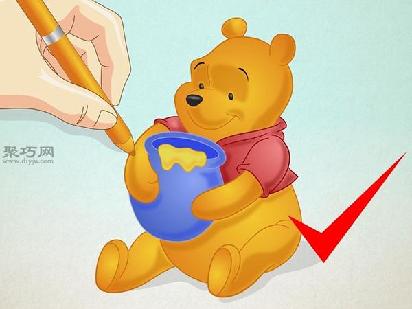 坐着抱蜂蜜罐的维尼熊的画法 15