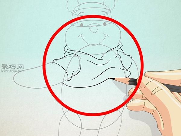 2在圆柱底部画两个圆点作为眼睛,眼睛上面画两条弯弯的眉毛,椭圆的两端画两个长长的耳朵,眼睛中间往下画一个椭圆作为鼻子,鼻子下面再画一条曲线,那是小熊的微笑。