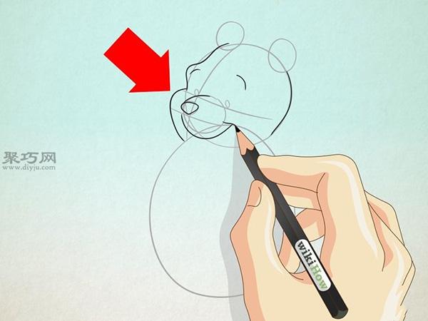 坐着抱蜂蜜罐的维尼熊的画法 9
