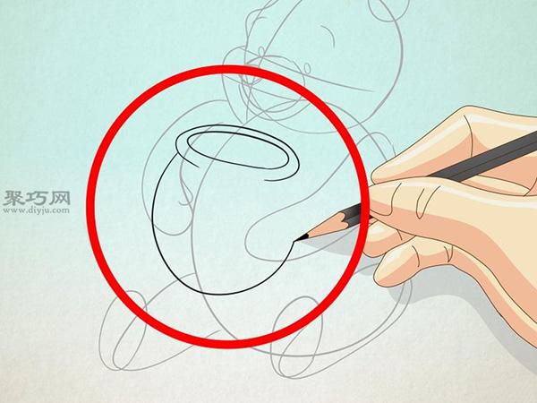 坐着抱蜂蜜罐的维尼熊的画法 12