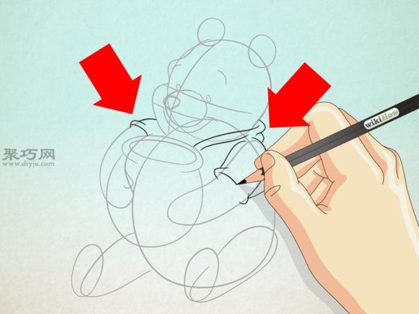 坐着抱蜂蜜罐的维尼熊的画法 13