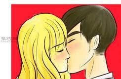 卡通漫画中的人物平视侧面亲吻简笔画教程详解