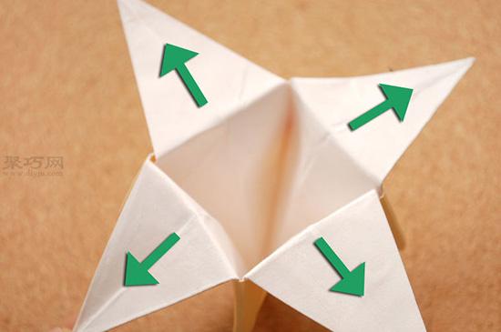 星星盒子折法图解 四角小礼品盒如何折叠 16