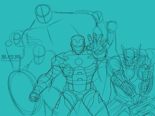 如何手绘漫画《复仇者联盟》英雄团队 8