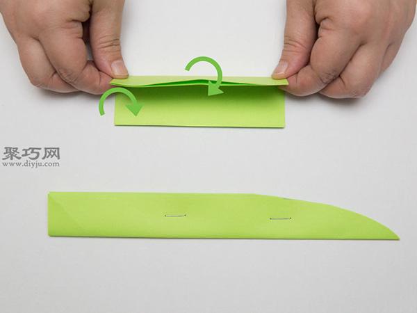 最简单折纸刀子的方法 5步学会如何折水果刀 7