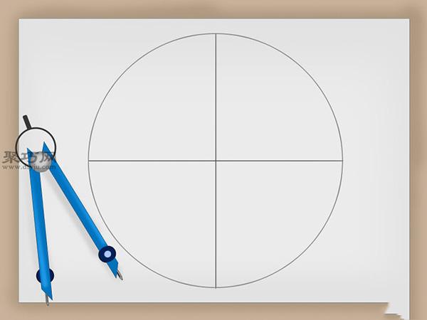 重复这个过程。将外圈上135 (SE)位置分别和正东方向箭头上下方的交叉点,以及正南方向箭头上右侧的交叉点连接起来;将外圈上 225 (SW)位置分别和正南方向箭头上左侧的交叉点,以及正西方向箭头上下方的交叉点连接起来;将外圈上 315 (NW) 位置分别和正西方向箭头上上方的交叉点,以及正北方向箭头上左侧的交叉点连接起来。最终你的罗盘玫瑰是这样的: