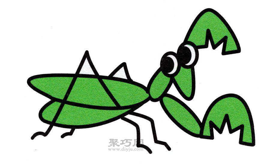 螳螂简笔画的画法