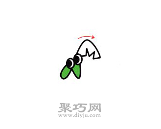 螳螂简笔画的画法步骤2