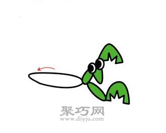 螳螂简笔画的画法步骤4