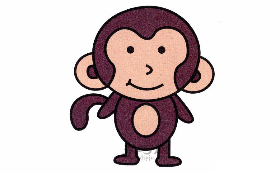 卡通动物简笔画教程之直立的猴子画法步骤图解