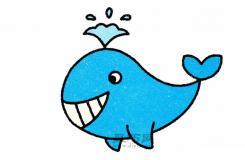兒童簡筆畫教程教你怎么在1分鐘內輕松畫好會噴水的鯨魚簡筆畫