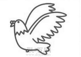 鸽子简笔画的画法步骤4