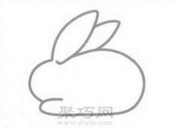 兔子簡筆畫的畫法步驟2